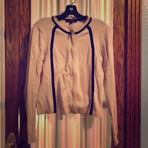 Nanette Lepore light pink zipper front sweater